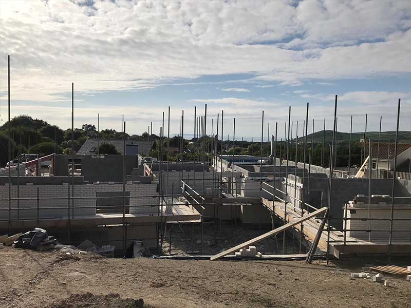 general building site with foundations and scaffolding