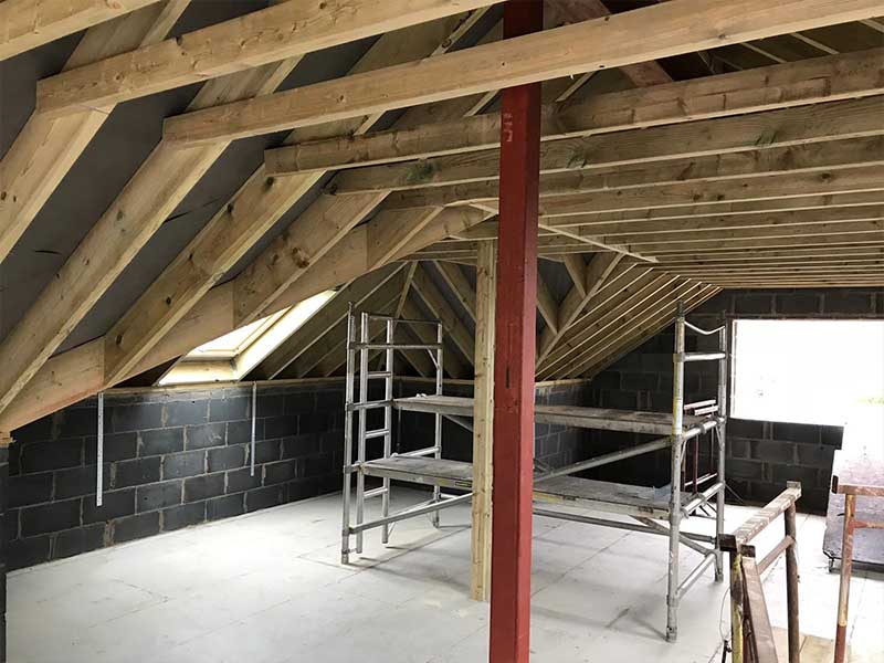 internal view of loft conversion in progress